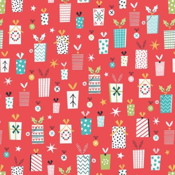 Forest Friends Metallic Christmas Presents Red by Dashwood Studio 100% Cotton