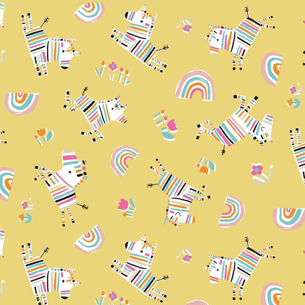 Rainbow Friends Stripey Zebras on Yellow by Dashwood Studio 100% Cotton