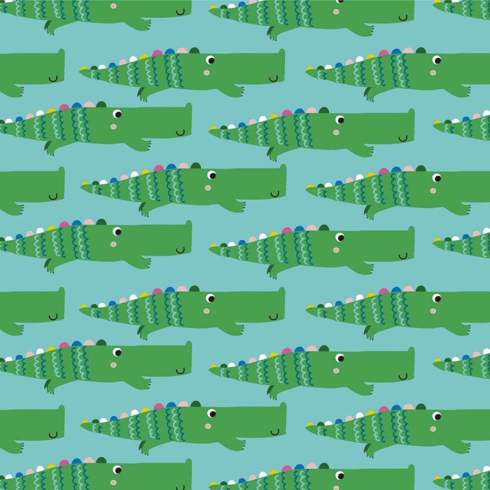 Rainbow Friends Crocodiles on Blue by Dashwood Studio 100% Cotton