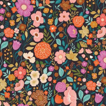 Good Vibes Floral Black by Dashwood Studio 100% Cotton