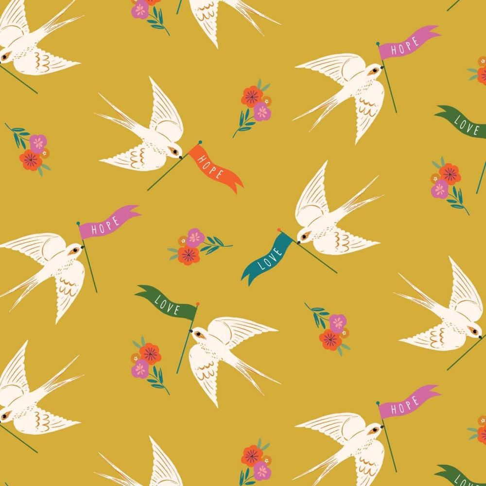 Good Vibes Hope Love Doves Mustard by Dashwood Studio 100% Cotton