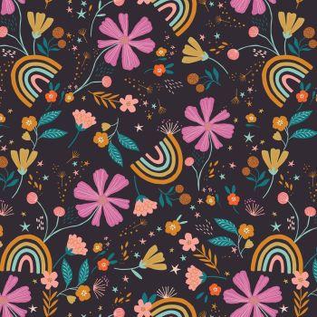 Good Vibes Floral Rainbows Black by Dashwood Studio 100% Cotton