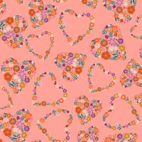 Good Vibes Floral Hearts Pink by Dashwood Studio 100% Cotton
