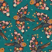 Good Vibes Floral Birds Teal by Dashwood Studio 100% Cotton