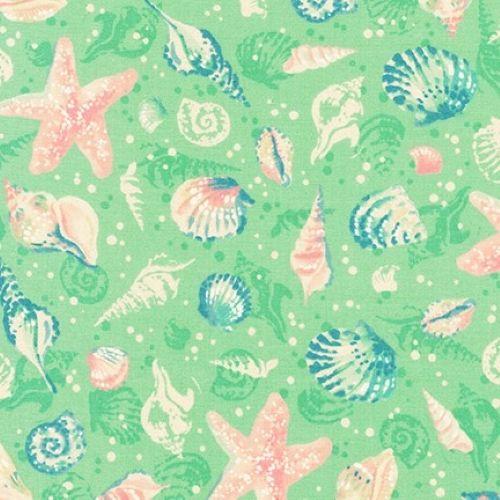 Sunset Coast Seashells Seafoam by Robert Kaufman Fabrics 100% Cotton