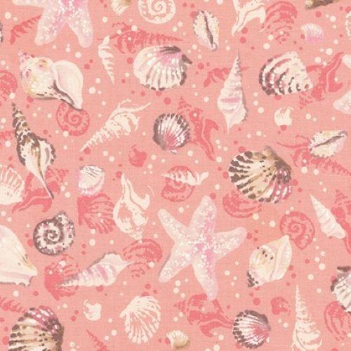 Sunset Coast Seashells Coral by Robert Kaufman Fabrics 100% Cotton