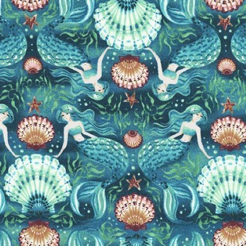 Sunset Coast Mermaids & Shells Pacific by Robert Kaufman Fabrics 100% Cotto