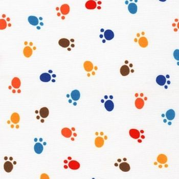 Whiskers and Tails Multi Coloured Paw Print by Robert Kaufman Fabrics 100% Cotton