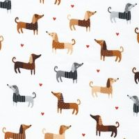 Whiskers and Tails Dogs on White by Robert Kaufman Fabrics 100% Cotton