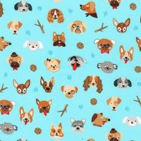 Whiskers and Tails Dogs Faces on Blue by Robert Kaufman Fabrics 100% Cotton