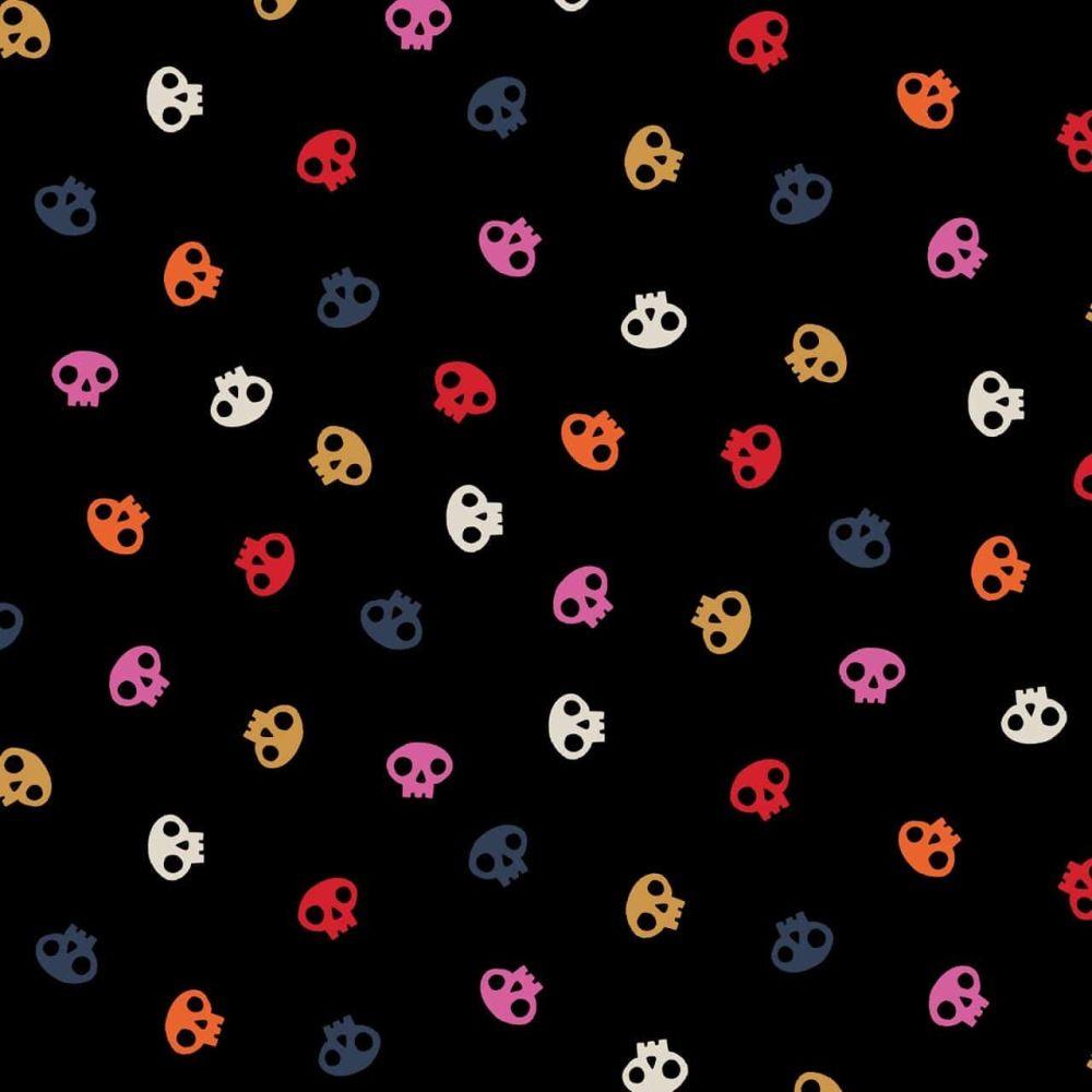 Full Moon Multicoloured Skulls on Black by Dashwood Studio 100% Cotton