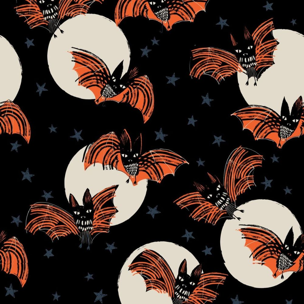 Full Moon Bats & Moons by Dashwood Studio 100% Cotton