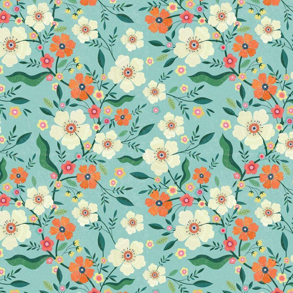 Hedgerow Flowers on Blue by Dashwood Studio 100% Cotton