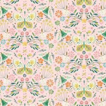 Hedgerow Butterflies & Flowers on Pink by Dashwood Studio 100% Cotton