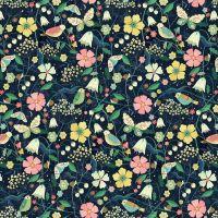 Hedgerow Birds & Flowers on Navy Blue by Dashwood Studio 100% Cotton