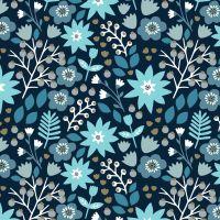 Starlit Hollow Metallic Floral Blue Flowers by Dashwood Studio 100% Cotton