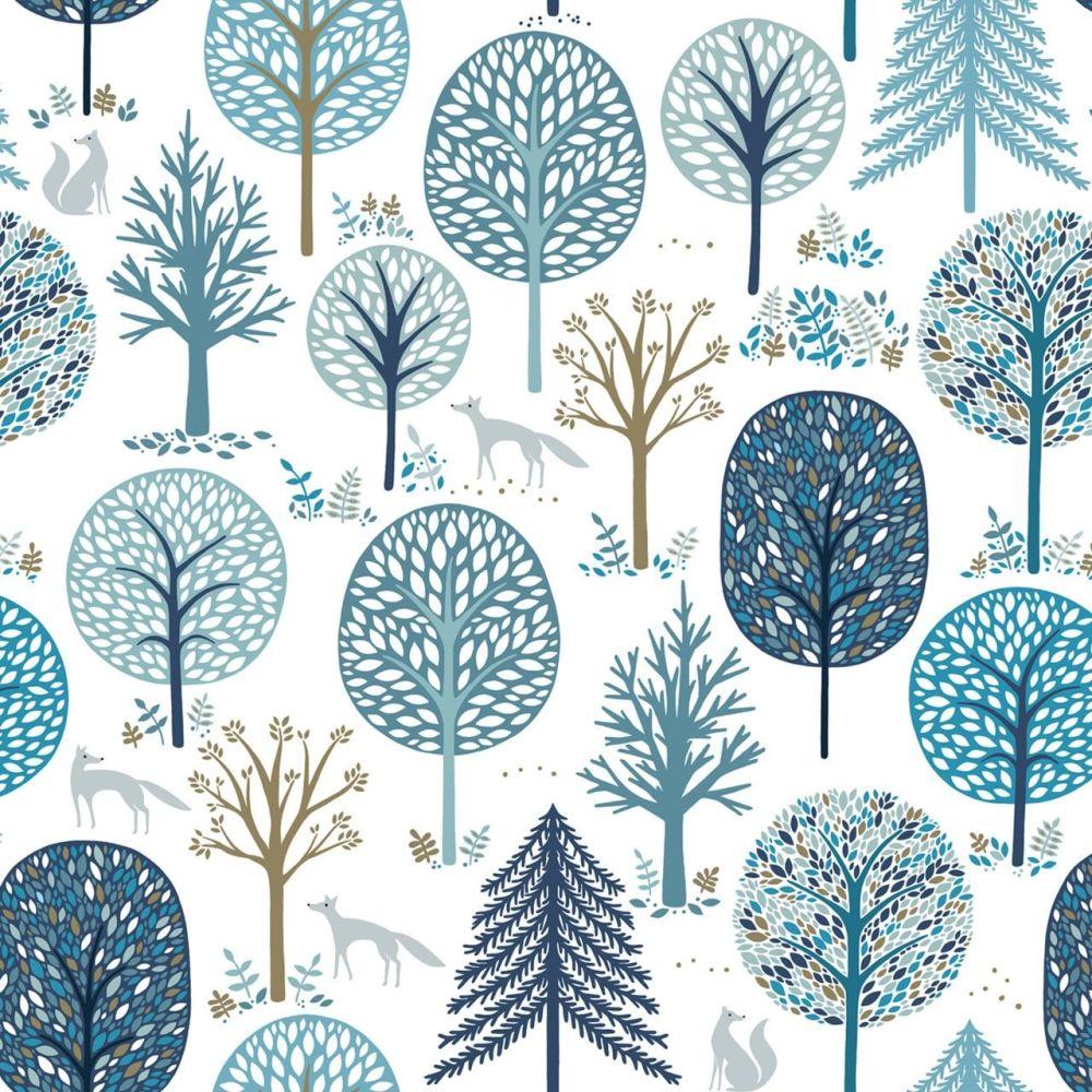 Starlit Hollow Metallic Foxes & Trees White by Dashwood Studio 100% Cotton