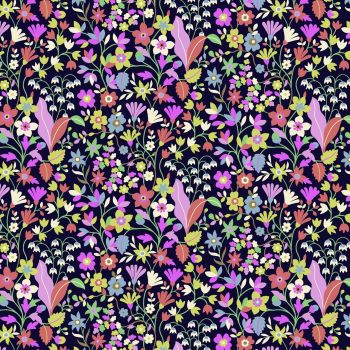 Kaleidoscope Ace Lawn Black Floral by Dashwood Studio Cotton Lawn Extra Wide