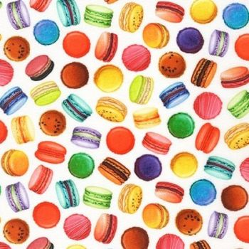 Sweet Tooth  Multicoloured Macarons by Robert Kaufman Fabrics 100% Cotton