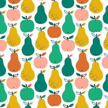 Acorn Wood Apples & Pears White by Dashwood Studio 100% Cotton