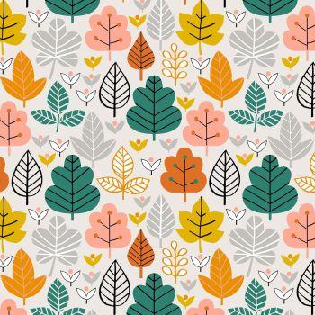 Acorn Wood Multicoloured Leaves Grey by Dashwood Studio 100% Cotton