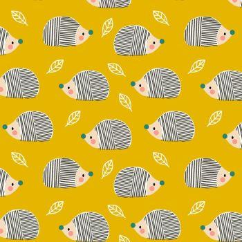 Acorn Wood Hedgehogs Mustard Yellow by Dashwood Studio 100% Cotton