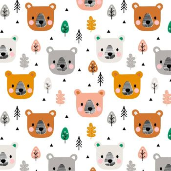 Acorn Wood Bear Leaves Trees White by Dashwood Studio 100% Cotton