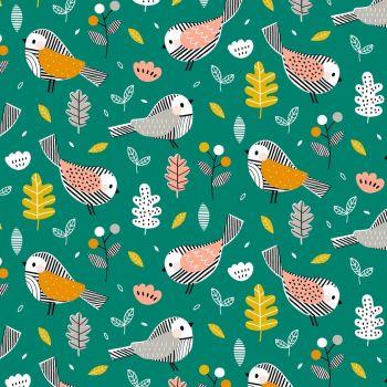 Acorn Wood Birds Leaves Green by Dashwood Studio 100% Cotton