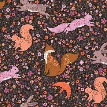 Wild Ditsy Floral Woodland Animals Black by Dashwood Studio 100% Cotton