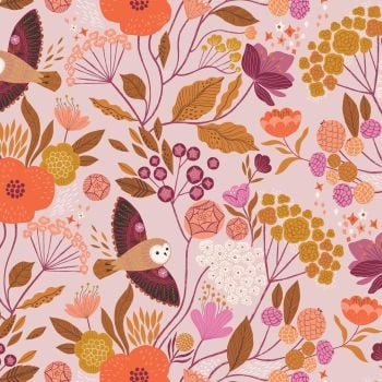 Wild Floral Owls Lilac by Dashwood Studio 100% Cotton