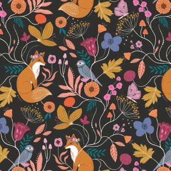 Wild Floral Animals Black by Dashwood Studio 100% Cotton