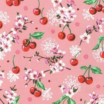 Wishwell Cherry Blossom Flowers Peach Pink by Robert Kaufman Fabrics 100% Cotton