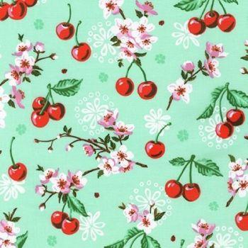 Wishwell Cherry Blossom Flowers Mint by Robert Kaufman Fabrics 100% Cotton