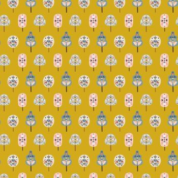 Nordiska Nordic Trees Mustard by Dashwood Studio 100% Cotton