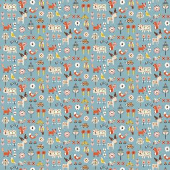 Nordiska Floral Ditsy Woodland Animals Blue by Dashwood Studio 100% Cotton