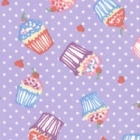 Cupcakes on Lilac Dots 100% Cotton