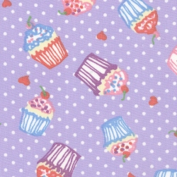 **SALE** Cupcakes on Lilac Dots 100% Cotton