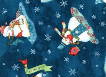Warm Wishes Snowmen by Red Rooster 100% Cotton