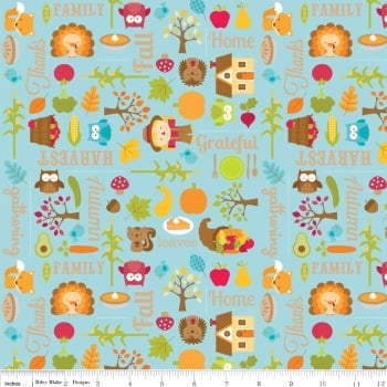 Happy Harvest Blue by Riley Blake Designs 100% Cotton 67 x 106 cm