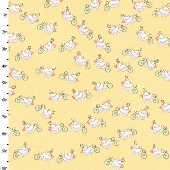 Bird Wise Lemon by Studio E Fabrics 100% Cotton 88 x 108 cm