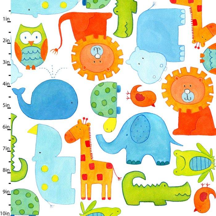 ABC Safari White by Studio E Fabrics 100% Cotton