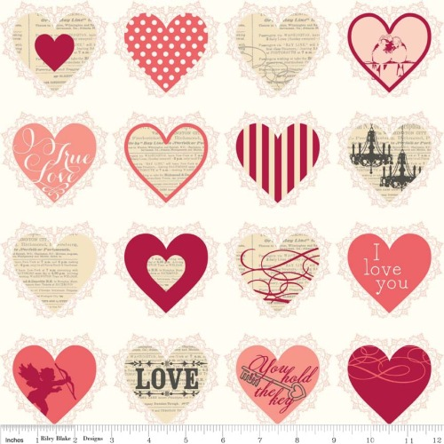 Lost and Found Love Valentines Hearts Pink by Riley Blake 100% Cotton