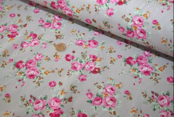 Pink Floral Bouquet on Grey 100% Cotton