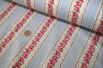 Provence Rose Stripe Blue 100% Cotton