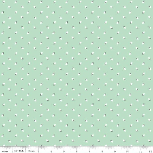 Sew Charming Sew Rosebuds Mint by Riley Blake 100% Cotton