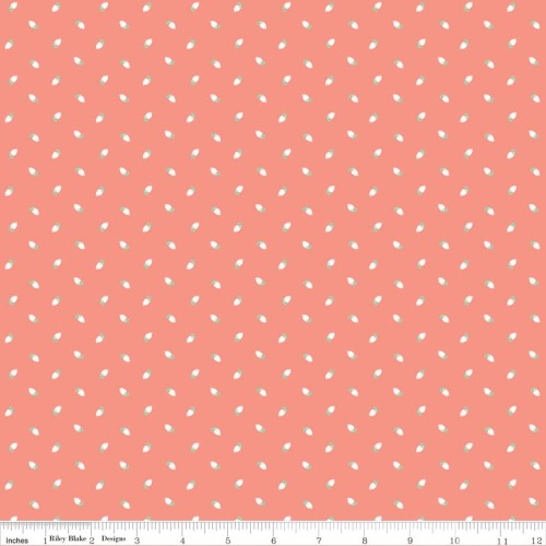 Sew Charming Sew Rosebuds Coral by Riley Blake 100% Cotton