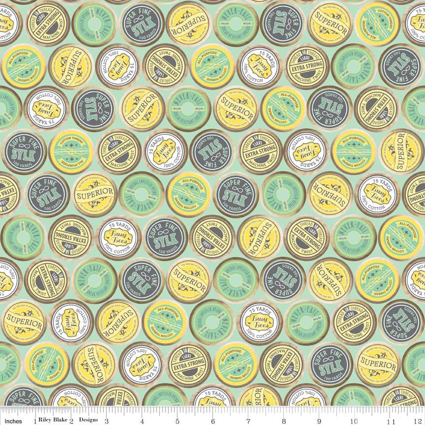 Sew Charming Sew Spools Mint by Riley Blake 100% Cotton