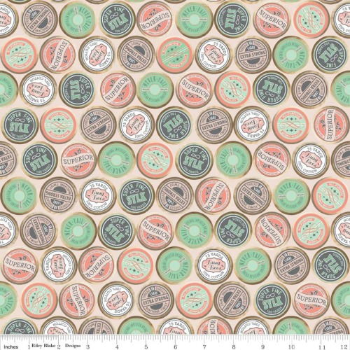 Sew Charming Sew Spools Coral by Riley Blake 100% Cotton