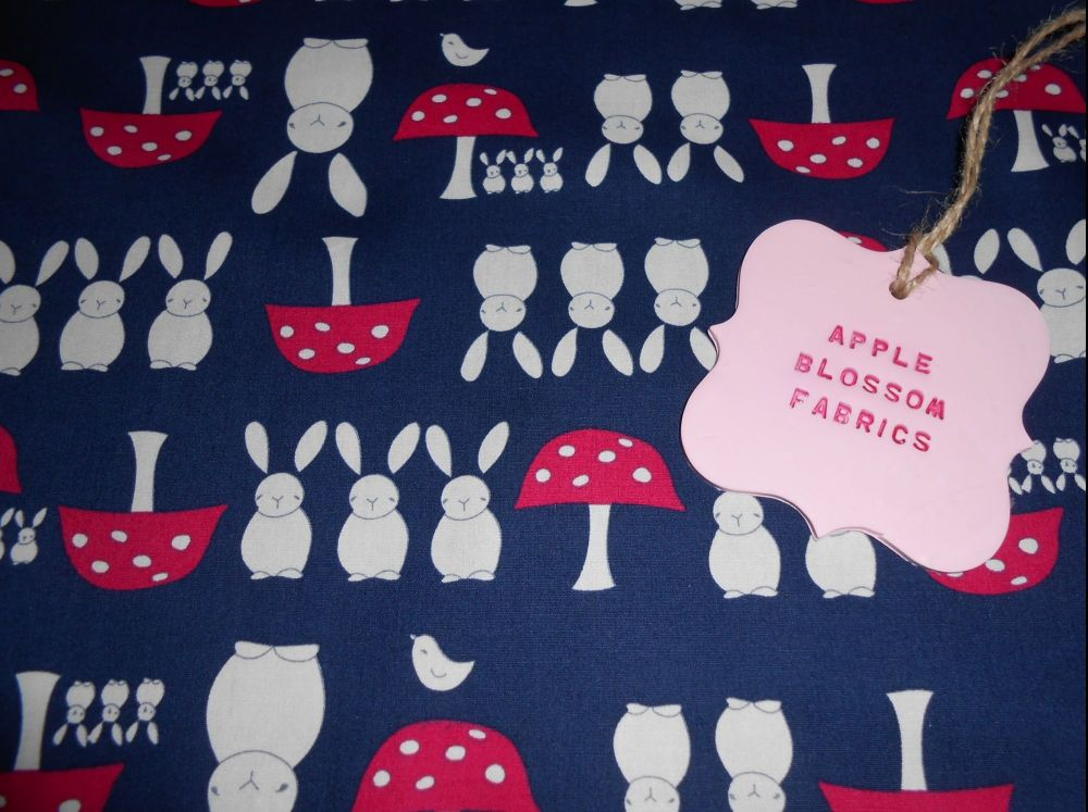 Bunnies and Toadstools Navy 100% Cotton