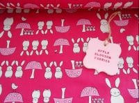 Bunnies and Toadstools Pink Rose & Hubble 100% Cotton